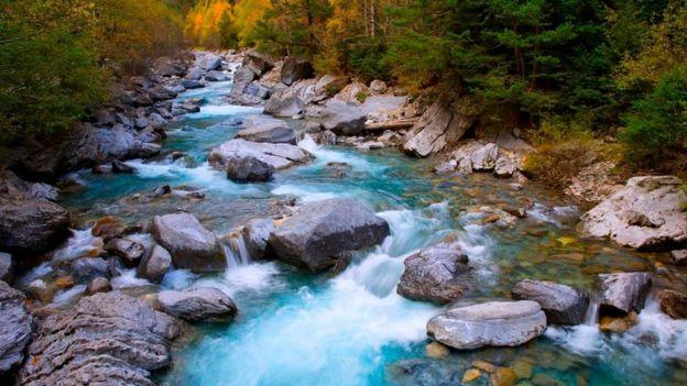 La imagen de un río que fluye entre unas piedras