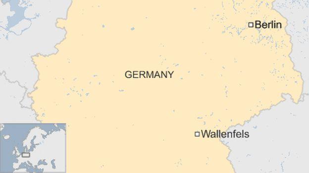 A map showing Wallenfels, a German town near the Czech border