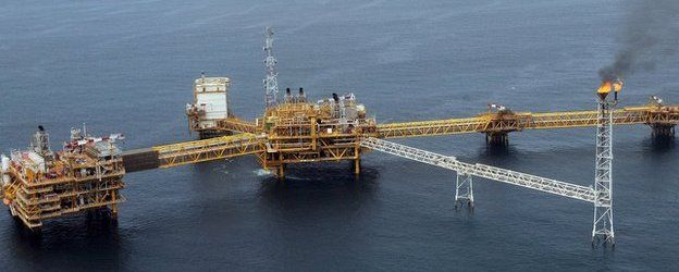 Total oil platform at Amenem, near Port Harcourt in Niger Delta. Nigeria is almost entirely dependent on its oil exports.