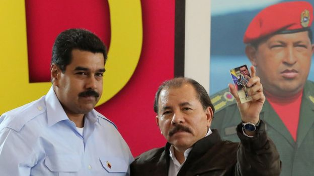Nicolás Maduro, presidente de Venezuela, y Daniel Ortega, presidente de Nicaragua.