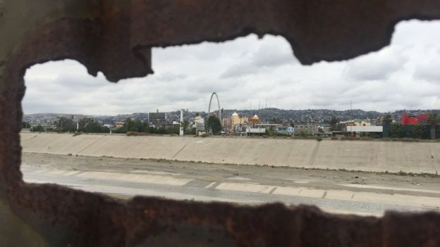 Mexico, as seen from the US side of the fence