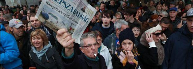 Macaristan'da hükümet karşıtı bir gösteri