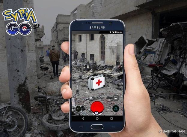 Syria Go game screen showing battle scene with a first aid symbol