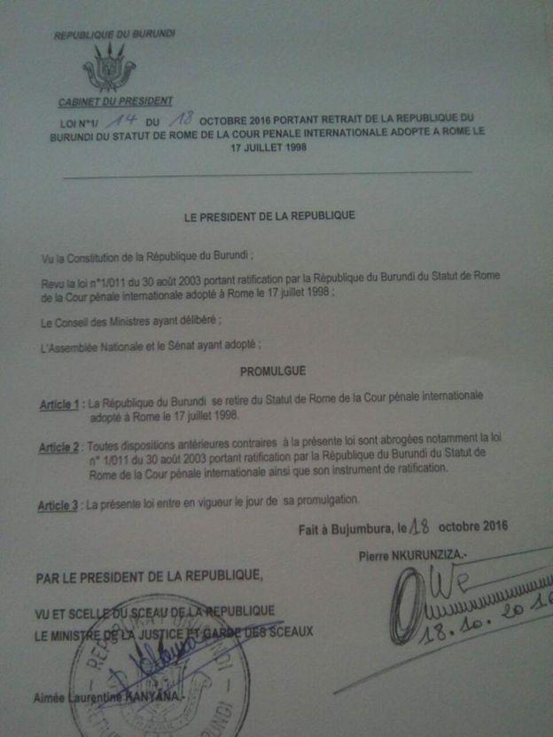 Barua iliotiwa saini na rais Nkurunziza kuiondoa Burundi katika ICC