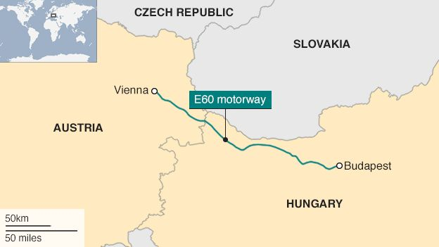 Map showing Hungary, Austria and motorway between them