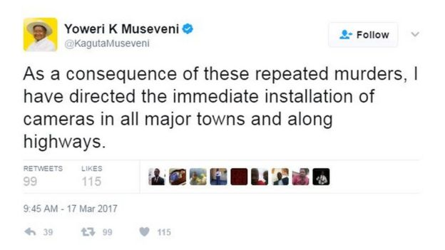 Tweet: As a consequence of these repeated murders, I have directed the immediate installation of cameras in all major towns and along highways.
