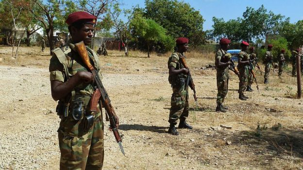 Ethiopian soldiers (file photo, March 2012)