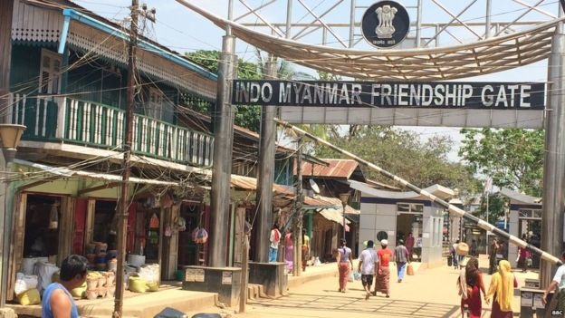 The border crossing between India and Myanmar in the north-eastern Indian town of Moreh.
