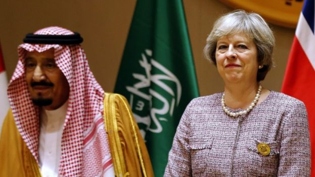 Saudi King Salman, left, and Theresa May attend a Gulf Cooperation Council (GCC) summit on December 7 2016