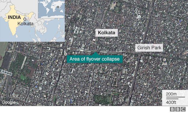 Map of Kolkata in India
