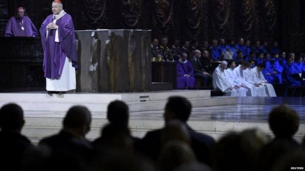 The Archbishop of Paris, Andre Vingt-Trois, says mass at Notre Dame Cathedral in Paris 15/11/2015