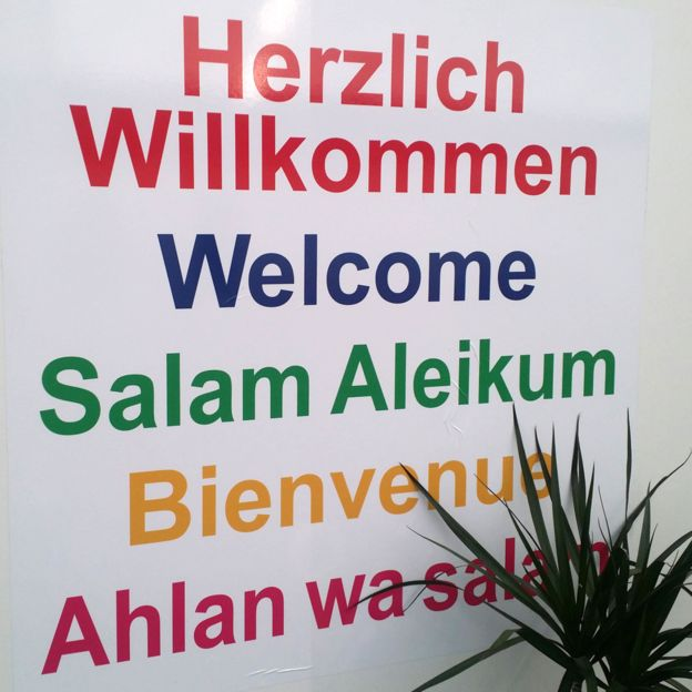Welcome sign at the dome in Munich
