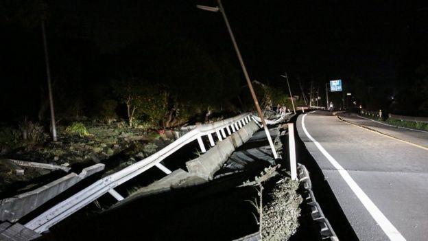 A road newly damaged in Mashiki, Kumamoto.