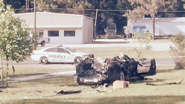 Crashed Tesla vehicle