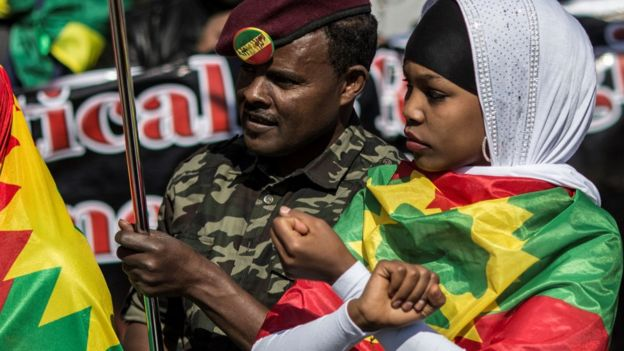 Ethiopian protesters in South Africa