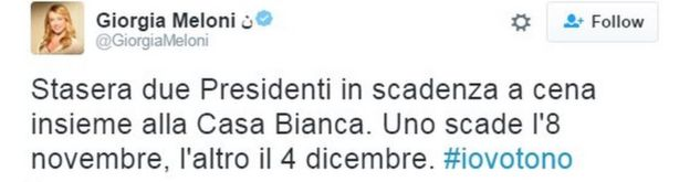 Tweet from Giorgia Meloni, leader of right-wing Brothers of Italy party