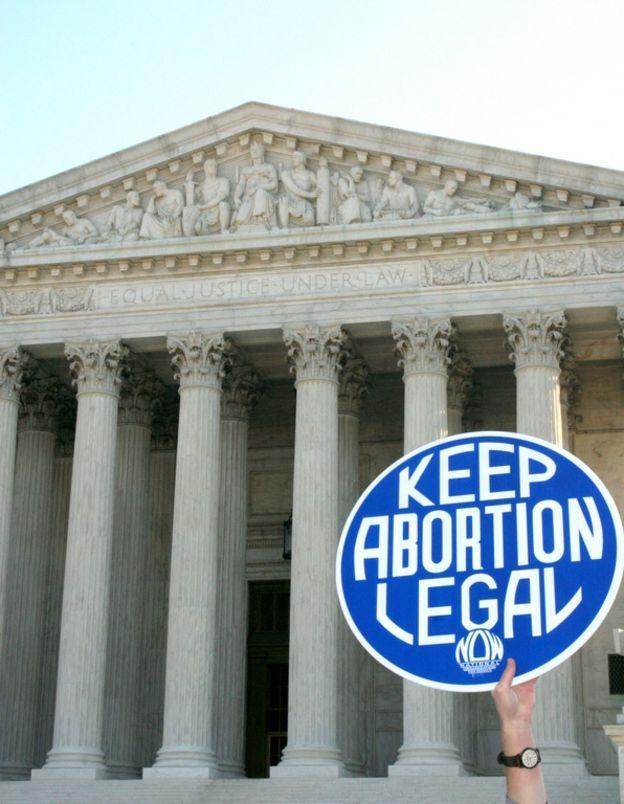 Cartaz pro aborto na porta da Suprema Corte dos EUA em 2005