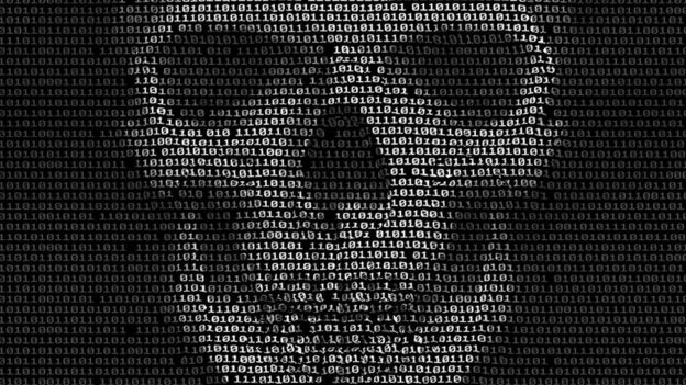 Skulls head image made from binary code