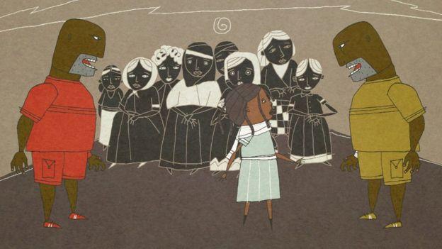 Ruth in a camp in Libya.