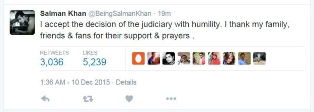 I accept the decision of the judiciary with humility. I thank my family, friends & fans for their support & prayers