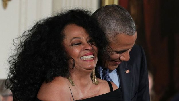 President Barack Obama and Diana Ross share a moment during a Presidential Medal of Freedom presentation ceremony, 22 November 2016