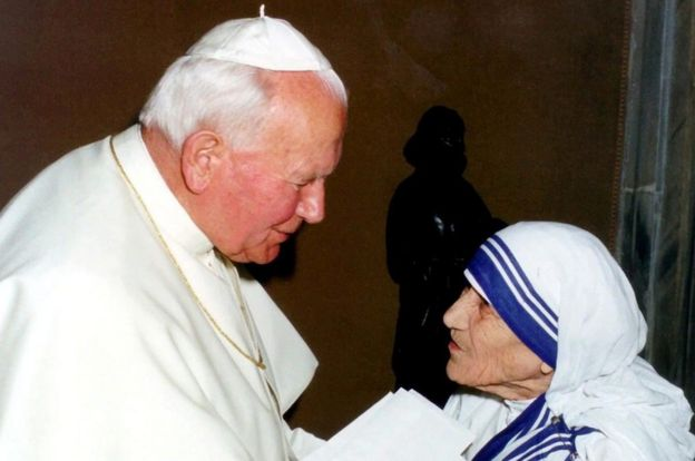 Pope John Paul II with Mother Teresa
