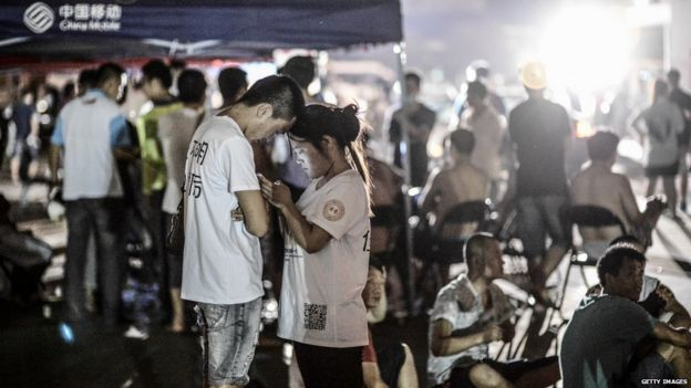 Emergency shelter in Tianjin. 13 Aug 2014