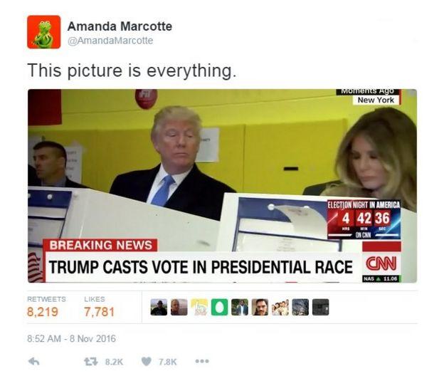 Cuenta de Twitter de @AmandaMarcotte con la imagen del Trump.