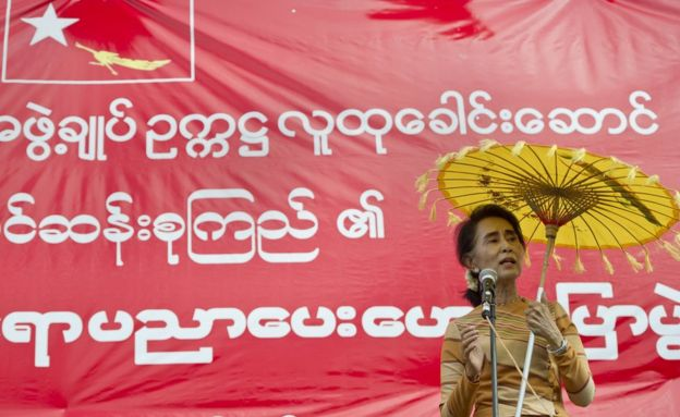 Aung San Suu Kyi at a voter education rally
