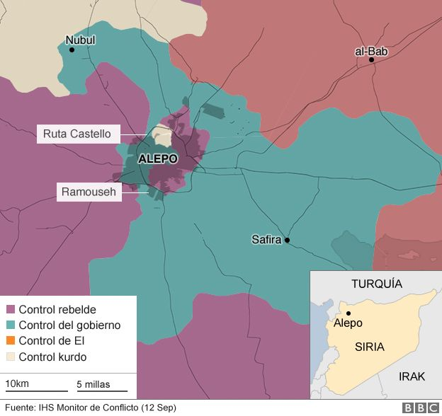 Mapa ocupación de Alepo y alrededores.