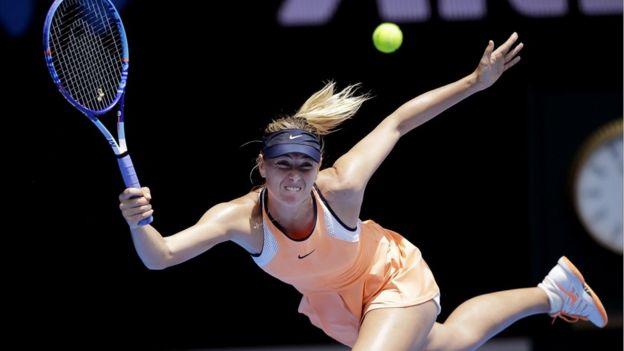 Maria Sharapova of Russia plays in the quarterfinal match at the 2016 Australian Open tennis championships.