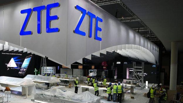 Stand de la compañía china ZTE en el MWC 2017 de Barcelona