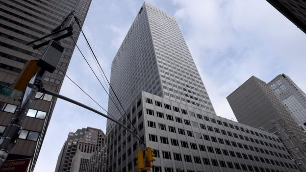 The building owned by the family of President Donald Trump's son-in-law, Jared Kushner, at 666 Fifth Avenue in Manhattan, New York City, 15 March 2017