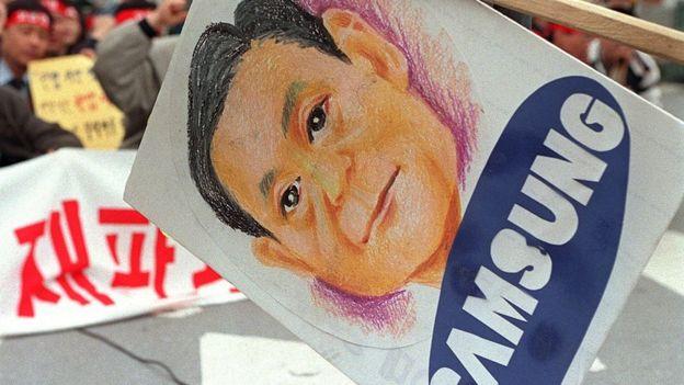 Cartel con el dibujo de Lee Kun-hee en unas protestas contra la compañía.