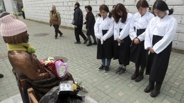 South Korean women wearing traditional dress pay theirs respects to a