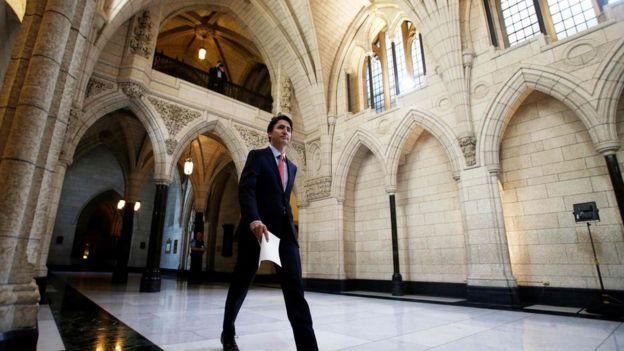 Justin Trudeau en el parlamento canadiense