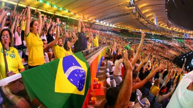 Opening ceremony at the Paralympics at the Maracana stadium