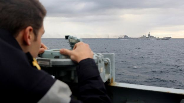 HMS Richmond man marks the Admiral Kuznetsov aircraft carrier task group in the Norwegian Sea. 18 Oct 2016