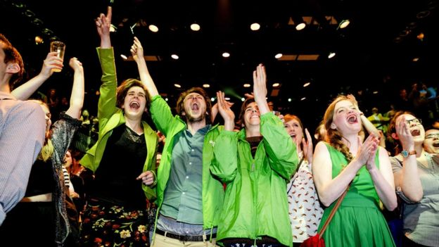 Members of GroenLinks during election night in Amsterdam, The Netherlands, 15 March 2017
