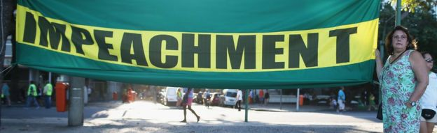 Demonstrator in Brazil shows sign in favour of impeachment