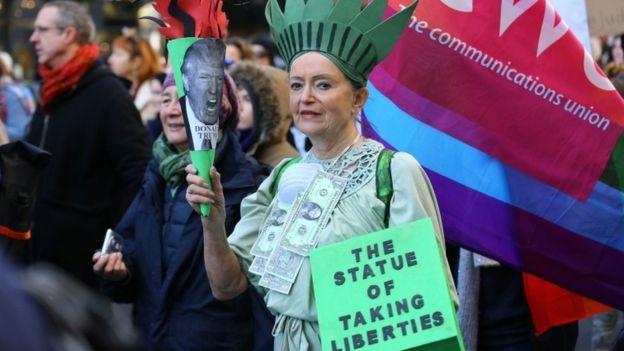 مظاهرات في لندن للتنديد بترامب