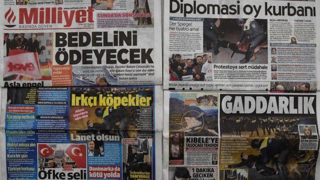 Türkiye'nin AB ülkeleriyle yaşadığı gerilim gazetelerin birinci sayfalarından inmiyor