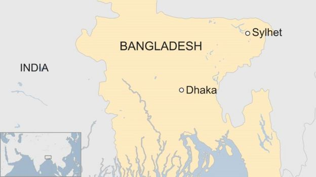 Map of Bangladesh showing Sylhet in the north east and Dhaka in the centre east