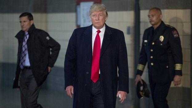 Donald Trump, (C), at Ohio State University