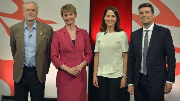 Jeremy Corbyn, Yvette Cooper, Liz Kendall and Andy Burnham