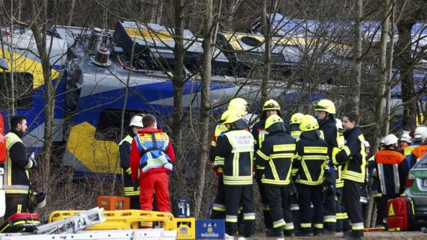 Crashed train near Bad Aibling in south-western Germany. 9 Feb 2016