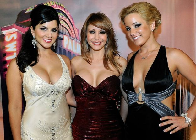 Adult film actresses Sunny Leone, Monique Alexander and Lia arrive at the 28th annual Adult Video News Awards Show at the Palms Casino Resort January 8, 2011 in Las Vegas, Nevada. (Photo by Ethan Miller/Getty Images)