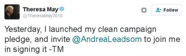 Theresa May tweet: