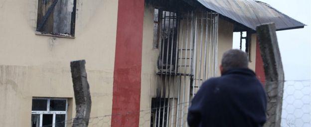 Damaged school dorm in Aladag (30 Nov)