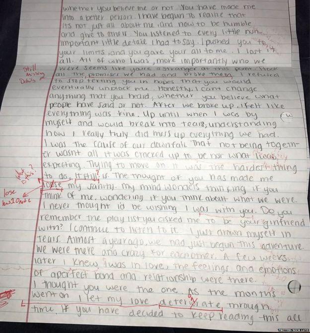 Segunda página de la carta.